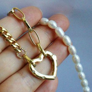 Gold Chunky Chain Pearl Beaded Necklace